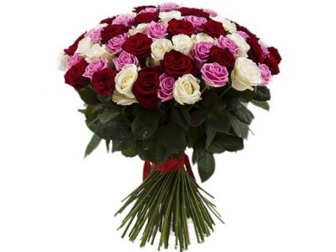 65 разноцветных роз