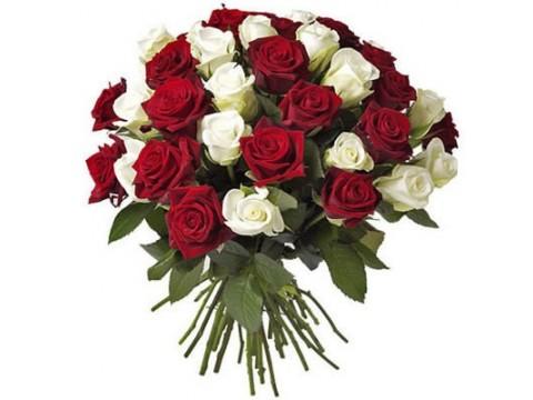 35 белых + красных роз