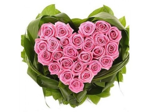 Серце (рожеві троянди)